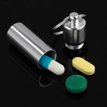87502-Medicine Bottle Keychain Case Container Waterproof Holder Aluminum Drug Pill Box on JD