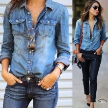 875061819-Women Fashion Denim Jeans Casual Long Sleeve Lapel Flip Collar Blouse Shirt Tops on JD