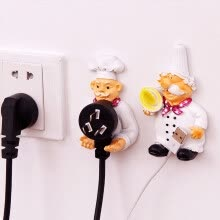 8750209-Creative cartoon power cord storage wall hook frame strong stick hook chef wire plug stent kitchen accessories on JD
