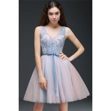 -Princess V-Neck Knee-Length Sky Blue Homecoming Dress With A Self-Tie Belt on JD