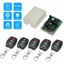 -433Mhz DC 12V 2CH Universal 10A Relay Wireless Remote Control Switch Receiver Module And 5PCS 3 Key RF 433 Mhz Transmitter Remote on JD