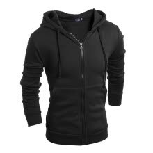 -Men's Sweatshirts Solid Color Zipper Sports Jacket Hooded Cardigan Coat on JD