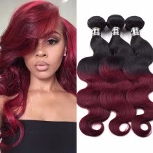 -Amazing Star Virgin Indian Hair Body Wave Human Hair Weave 3 Bundle Deals T1B/99j Good Quality Human Hair Extensions on JD