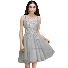 -Silver Gray Sheer Tulle A Line Homecoming Dresses Lace Applique Knee Length Formal Short Party Cocktail Prom Dresses on JD