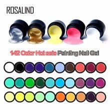 -ROSALIND Gel Varnish 5ml 142 Pure Colors UV Gel Manicure DIY Nail Art Gel Polish Design Nail Painting Color gel lacquer(801-880) on JD