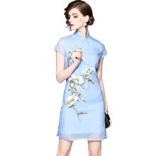 875061820-QUZIHUA 2018 New Summer Blue Volie Vintage Cheongsam Dress A-Line Knee-Length Embroidery Floral Dress Beauty Dress on JD