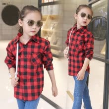 tops-tees-Shirts For Girls School Teenager Plaid Long Sleeve Cotton Girls Blouses Top Autumn Kids Clothes For 5 6 7 8 9 10 11 12 Years on JD