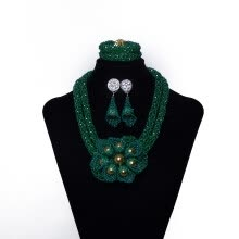 -Dark Green Millet Beads Hand-Woven Flowers African Beads Jewelry Set Nigerian Wedding Beads Necklace African Jewelry Set for Women on JD