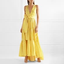 Striped Bohemian Maxi Dresses Women Sleeveless Deep V Neck Lace up Sexy Dress  Female Casual Summer Holiday 2018 New b550ad37df8a