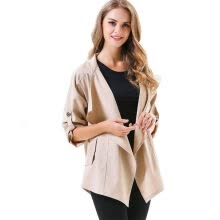 -BURDULLY New Arrivals 2018 Spring Thin Trench Coat For Women Cardigan Outerwear Asymmetric Polyester Long Sleeves Coats Khaki on JD