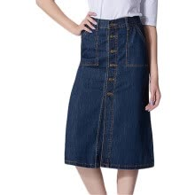 skirts-Tissbely Button Knee Length Skirt Jeans Women A Line Empire Mid Calf Denim Skirt Prairie Chic Style Vintage Higt Waist Jeans on JD