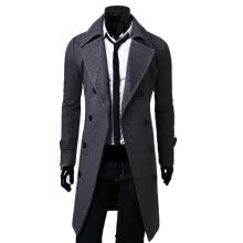 cardigans-CT&HF Men Fashion Leisure Woollen Coat Winter Thickening Silm  Coat Lapels Elegant Temperament Simple Pure Color Jacket on JD