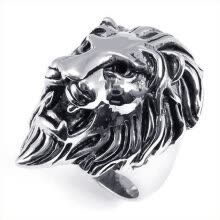 band-rings-Hpolw Men's Unique Vintage popular  Stainless Steel Biker Gothic Lion Head black&silver Ring  on JD