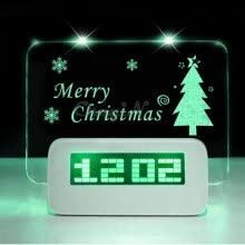 -Yixiukeji LED Fluorescent Message Board Digital Alarm Clock Calendar on JD