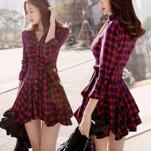 casual-Stylish Ladies Thin render skirt Slim long sleeve red plaid dress on JD