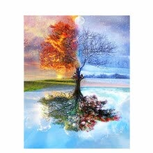 8750202-Frameless DIY Oil Painting By Numbers Hand Painted Modern Wall Canvas Painting Picture For Living Room (Summer and winter) on JD