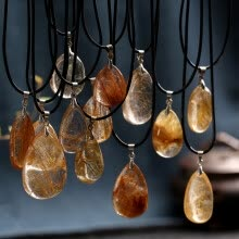 -Natural Stones Rutilated Quartz Pendant Hair Crystal Free Necklace Mineral Specimen Garden Crystal Gost Quartz Jewelry Energy on JD