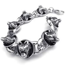 -Hpolw Vintage Stainless Steel Gothic Wolf Charms Biker Mens Bracelet, Color Black Silver on JD