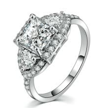 -Sliver Color Luxry Wedding Ring Set Engagement AAA CZ Diamond Crystal Jewelry For Women R549 on JD
