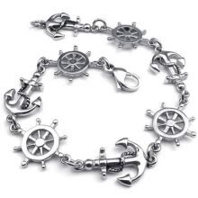 -Hpolw men/wonen silver Stainless Steel Love Anchor & Helm Charms Lobster Clasps Unique design geometry/circular Bracelet on JD