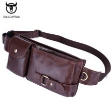 waist-packs-BULLCAPTAIN Leather Waist Packs Fanny Pack Belt Bag Phone leather Pouch Bags Travel Waist Pack Male Functional Waist Bag on JD