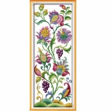 -DIY Handmade Needlework Counted Cross Stitch Set Embroidery Kit 14CT Beautiful Flowers Pattern Cross-Stitching 21 * 50cm Home Deco on JD