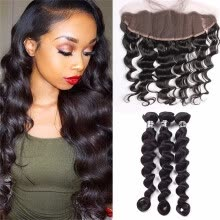 -Amazing Star Bundles with Frontal Peruvian Virgin Hair Loose Wave with Frontal Closure Can Be Dyed and Bleached Natural Color on JD