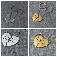 875062459-MyMei 1Pc Best Bitches Engraved Heart Round Keychain Keyring For Friends Friendship Gift on JD