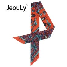 -JeouLy 2018 Women Skinny Scarfs Fashion Print Twilly Headband Spring Summer Decoration For Handbag Hair Wrist bag tape orange on JD