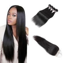 -Ishow 7APeruvian Straight Human Hair 4 Bundles With Closure With Baby Hair Free Middle Three Part Hair Weave Bundles on JD