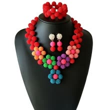 875062459-Mixed Color Luxury African Beads Jewelry Set New coral rose Bridal jewelry  Nigerian Wedding Pearl Necklace Earrings Bracelet on JD