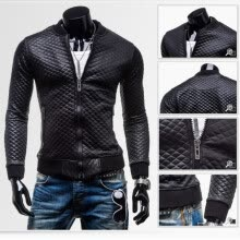 leather-faux-leather-Fashion Men PU Leather Jacket Outwear Slim Fit Coat Winter Casual Blazer Grid on JD