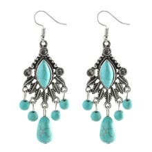 875062531-Fashion Turquoise Rhombus Water Droplets Pendant Earrings on JD