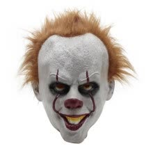 -Movie clown mask pennywise halloween horror mask surrounding latex headgear funny scary character on JD