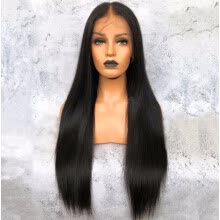 -Pre-plucked Hairline Lace Front Human Hair Straight Wig With Baby Hair Brazilian Virgin Hair 150% Density on JD