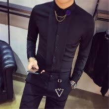 -High Quality Tuxedo Shirt Men Slim Fit Long Sleeve Solid Social Party Dress Shirts Night Club Casual Blouses Homme Hot Sale 2XL on JD
