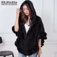 fur-MS.MinShu Hand Knitted Mink Fur Poncho Women Real Fur Cape Hooded Coat Zipper Fashion Lady's Outwear Genuine Mink Fur Shawl on JD