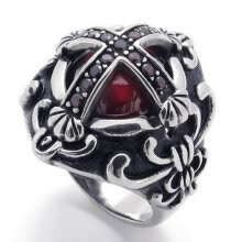 -Hpolw Vintage Stainless Steel Cubic Zirconia Cross Biker Mens Ring, Red Silver on JD