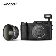 compact-digital-cameras-Andoer CDR2 1080P 15fps Full HD 24MP Digital Camera 3.0' Rotatable LCD Screen Anti-shake 4X Digital Zoom Built-in Retractable Flas on JD