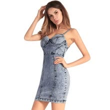 -TPEHA Women Sexy Mini Denim Dress Strap Sleeveless Bodycon V Neck Summer Solid Sheath Party Club Dresses With Chest Pad on JD