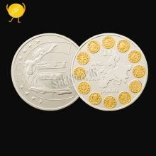 badges-European Union Twelve Countries Commemorative Coins Gold-plated Silver Two-color Coin Collection Of Euro Coins on JD