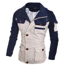 -Zogaa New Men's Jacket Zipper Fashion Slim Color Matching on JD