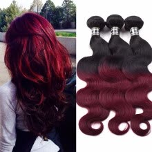 -Amazing Star Ombre Peruvian Virgin Hair Body Wave Weft 3 Bundles Tangle Free Shedding Free Ombre Color Hair Weft T1B/99j on JD