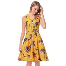 -Women 1950s Vintage Pretty High Quality XXL Dresses Evening Sleeveless V-neck Summer Print Retro Sashes Tunic Dress Femme Robe on JD