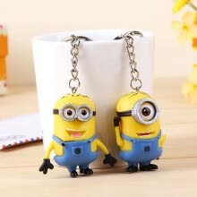 875062454-1SET Despicable Me 3D Eyes Minions Rubber Key Ring Key Chain Cute Toy Gift on JD