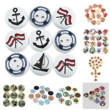 8750201-mymei 1 Bag 100pcs Mixed Pattern Wooden Buttons Fit Sewing and Scrapbook 20mm on JD