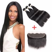 -Brazilian Virgin Hair Straight With Lace Frontal Closure Ear To Ear Lace Frontal Closure With Bundles Brazilian Straight HCDIVA on JD