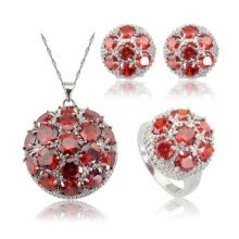 ring-sets-EIOLZJ Red Cubic zirconia Silver Plated Jewelry Sets for Women Four Colors Available Free Jewelry Box on JD