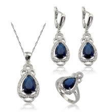 ring-sets-EIOLZJ Fashion Beautiful Dark Blue Cubic zirconia Silver Plated Jewelry Sets for Women Free Jewelry Box on JD
