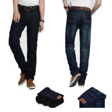 875068681-Men Classic Straight Slim Fit Fleece Lined Thick Jeans Biker Denim Trousers Pant on JD